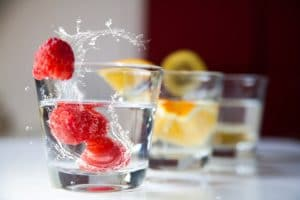 Fruit in glasses of water