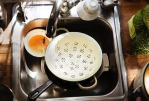 Dirty dishes stacked in sink
