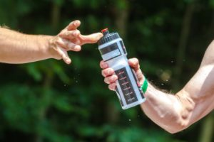 Grabbing a water bottle during water shortage