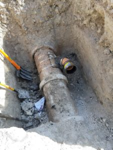 Sewer pipe before connection x 2